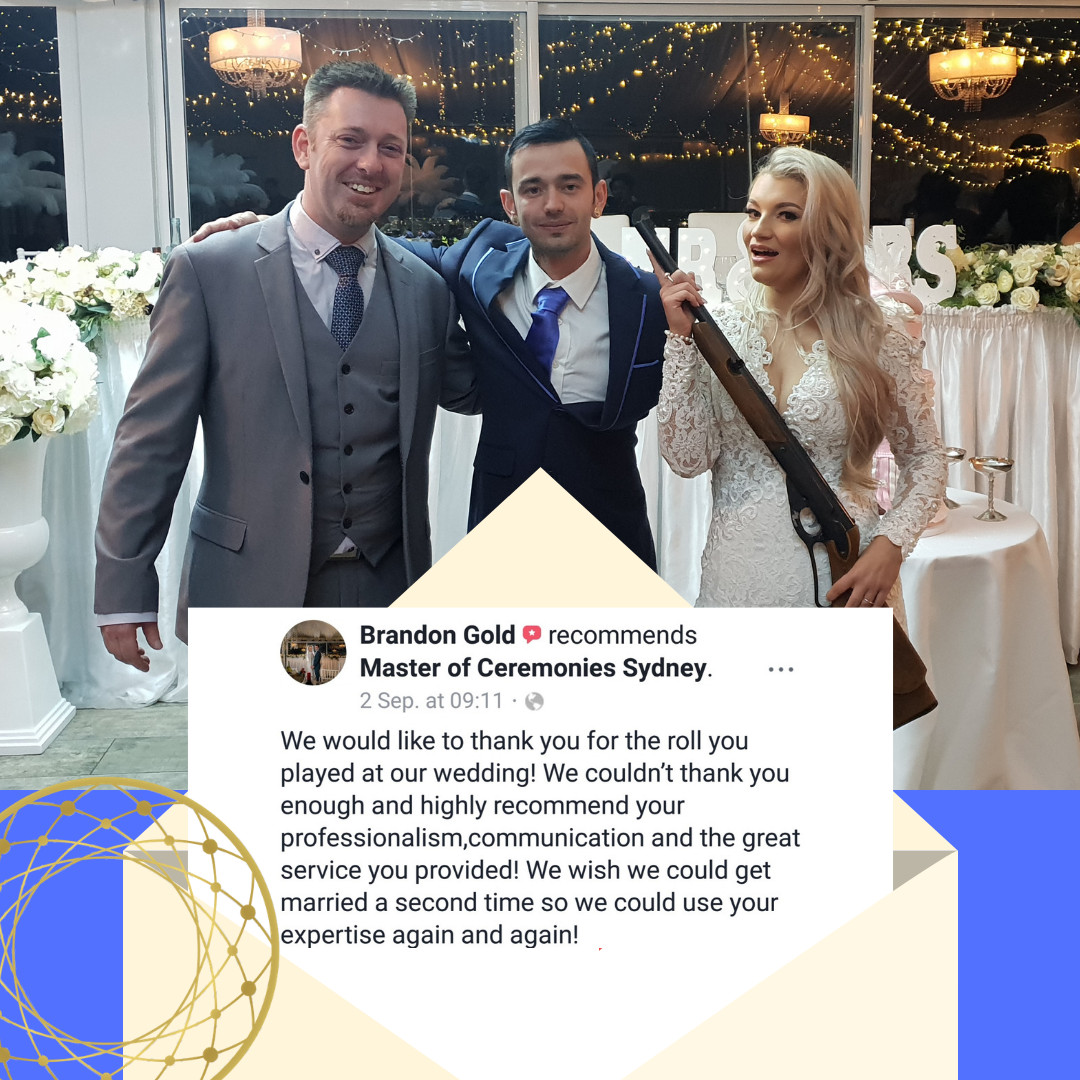 Brenna and Brandon Wedding Celebrant Panorama House, bride with a gun, wedding review, male celebrant, wedding MC, wedding ceremony