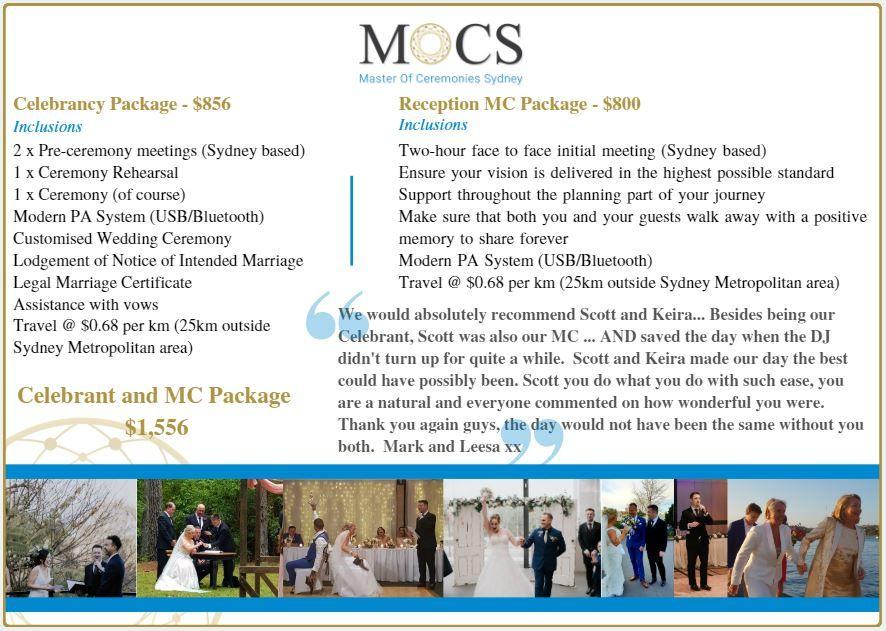 Celebrant Pricing MC Pricing Package Pricing Wedding Ceremony Wedding Reception