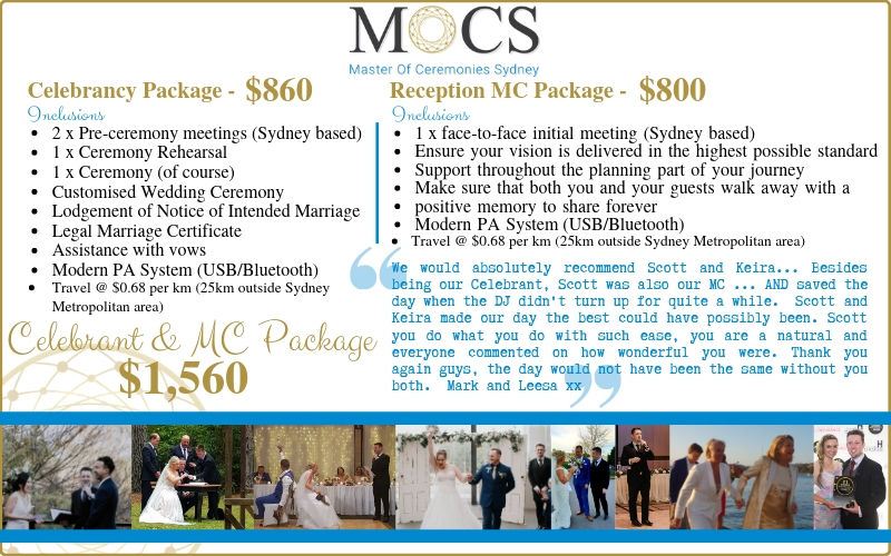 Celebrant Pricing MC Pricing Package Pricing Wedding Ceremony Wedding Reception